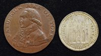 Lot 16-Peterborough Bank Token, 1811, silver and bronze Manchester Halfpenny Token, 1793 (2).