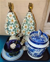 Lot 96-A pair of Chinese export plates, Willow pattern ice bucket, Moorcroft style fruit stand, a pair of china lamps bases encrusted with clovers