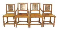 """359 - Four Robert """"Mouseman"""" Thompson dining chairs."""