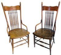 353 - Two oak and elm Arts & Crafts design single chairs.