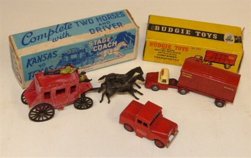 """Lot 87-Essem Series Kansas to Texas stage coach, driver and rifleman. Dinky Toys """"Mersey Tunnel"""" Police Land Rover and Budgie toys, British Railway container transporter..."""