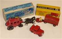 """Lot 87 - Essem Series Kansas to Texas stage coach, driver and rifleman. Dinky Toys """"Mersey Tunnel"""" Police Land Rover and Budgie toys, British Railway container transporter..."""