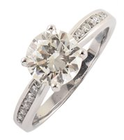 158 - 2.17 carat diamond solitaire 18ct white gold ring