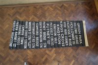 Lot 54-London Transport Bus destination blind with linen backing.