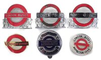 Lot 17-Six London Transport bus and underground enamel cap badges