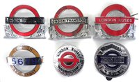Lot 30-Six London Transport bus and underground enamel cap badges