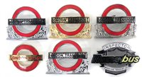 Lot 10-Six London Transport bus and underground enamel cap badges
