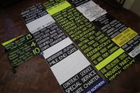 Lot 49-Four London Transport Bus destination blinds in yellow and black and white.