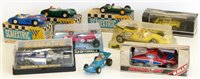 Lot 69-Scaletrix March Ford 240 (6 wheeler), 1961 Lotus MM/C63, two Aston Martins MM/C57 (blue and green), Ferrari 312B.2, Triumph TR7 C130-0020 and Mini Rally 1275 GT Special C.122, all boxed complete wi...