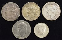 Lot 3-Five USA coins to include three silver dollar coins (5).