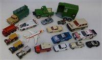 Lot 94 - Britains Land Rover and Beaufort double horse box trailer (lacking side ramp), Corgi Dodge Kew Fargo, Corgi Jaguar XJR9, Lesney Hoveringham tipper, Corgi toys V.W. 1500 Karmann Ghia, Matchbox Audi...