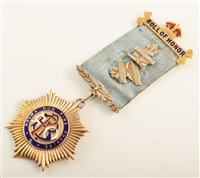 Lot 202-9ct gold and enamelled RAOB medallion