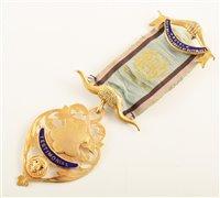 Lot 203-9ct gold and enamelled RAOB testimonial medallion