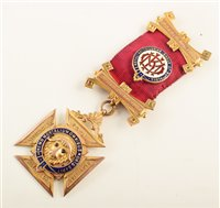 Lot 204-9ct gold and enamelled RAOB medallion