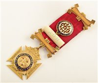 Lot 205-9ct gold and enamelled RAOB medallion