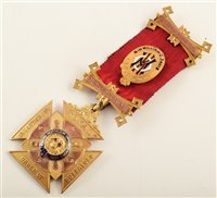 Lot 207-9ct gold and enamelled RAOB medallion