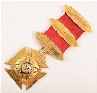 Lot 215-Boxed 9ct gold and enamelled RAOB medallion, of Maltese cross design, for lodge No. 34 dated 1955.