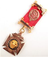 Lot 218-Boxed 9ct gold and enamelled RAOB medallion
