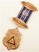 Lot 219-Boxed 9ct gold and enamelled RAOB Presidents medallion