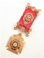 Lot 222-Boxed 9ct gold and enamelled RAOB medallion