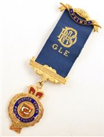 Lot 223-Boxed 9ct gold and enamelled RAOB medallion