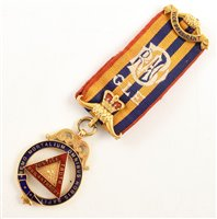 Lot 224-Small boxed 9ct gold and enamelled RAOB Vice President's medallion