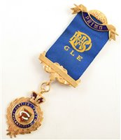Lot 232-Small 9ct gold and enamelled RAOB medallion