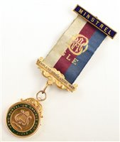 Lot 234-Small 9ct gold and enamelled RAOB medallion