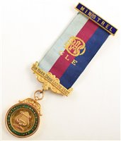 Lot 235-Small 9ct gold and enamelled RAOB medallion