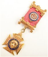 Lot 236-9ct gold and enamelled RAOB medallion