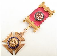 Lot 240-9ct gold and enamelled RAOB medallion