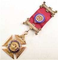 Lot 241-9ct gold and enamelled RAOB medallion