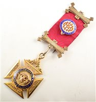 Lot 242-9ct gold and enamelled RAOB medallion