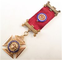 Lot 243-9ct gold and enamelled RAOB medallion