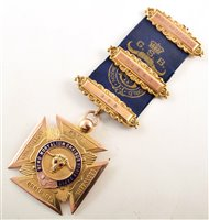 Lot 244-Boxed 9ct gold and enamelled RAOB medallion
