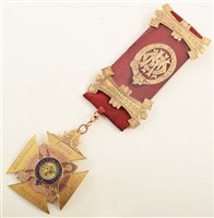 Lot 245-Boxed 9ct gold and enamelled RAOB medallion