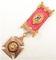 Lot 246-Boxed 9ct gold and enamelled RAOB medallion