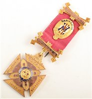 Lot 247-Boxed 9ct gold and enamelled RAOB medallion