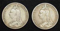 Lot 26-Two Queen Victoria 1889 and 1890 Crowns (2).