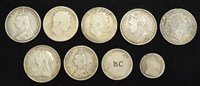 Lot 33-Selection of George III and Victoria Crowns and Halfcrowns and George I silver shilling (9).