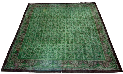 Lot 368-Irish Donegall carpet circa 1910, Arts & Crafts style following the designs of C.F.A. Voysey.