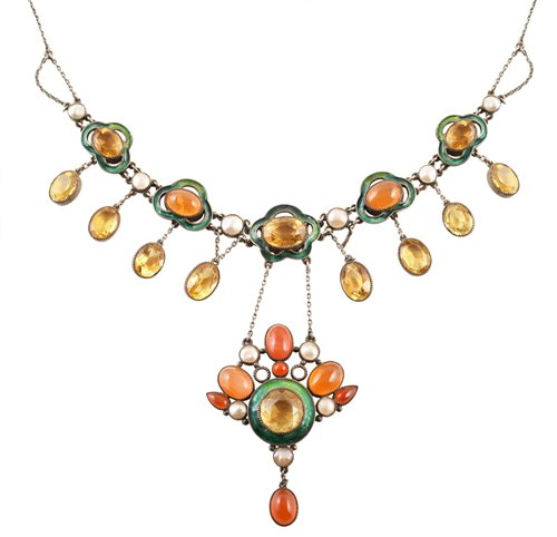 Lot 140-Early 20th century Arts & Crafts silver, enamel and semi-precious stone set drop pendant fringe necklace
