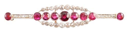 Lot 37-Edwardian ruby and diamond bar brooch
