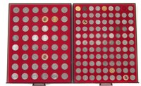 Lot 47-Two trays of coins to include Sixpences, Five Pence pieces and Shillings.