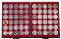 Lot 51-Two trays of Royal Mint, Queen Elizabeth II, Five Pounds proof and circulated coins.