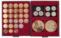 Lot 13-Two trays of gold-plated Queen Elizabeth II and reproduction coins.
