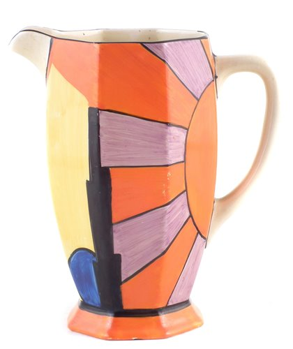 Lot 56-Clarice Cliff Athens shape jug decorated in sun ray pattern.
