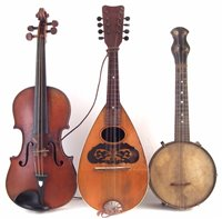 Lot 24-Violin with case and bow, bowl back mandolin, banjolele