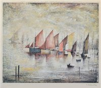 "187 - After L.S. Lowry, ""Sailing Boats"", signed limited edition print."
