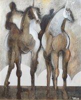 "243 - Geoffrey Key, ""Riders at Daybreak"", oil."
